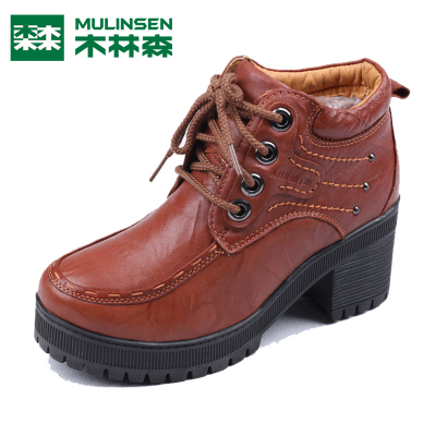 Linsen counter genuine 14-year winter casual fashion leather high-top lace-up shoes M0361232B