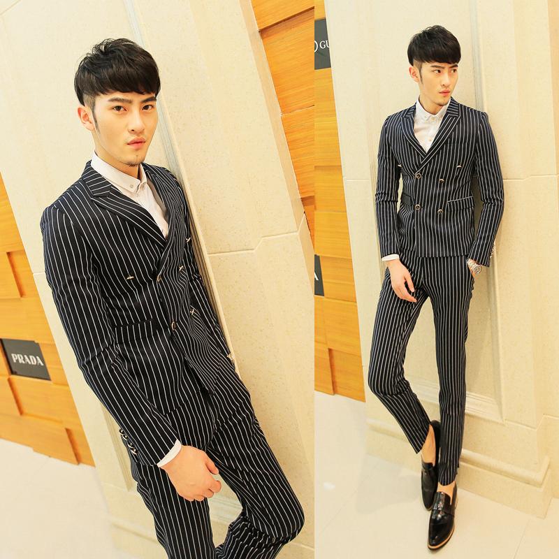 2014秋款时尚复古风男士竖条纹西装套装休闲修身型两粒双排扣青年