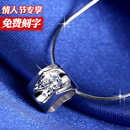 925 sterling silver necklace female short paragraph clavicle chain Korea Korean Crystal silver pendant fashion jewelry accessories heart-shaped