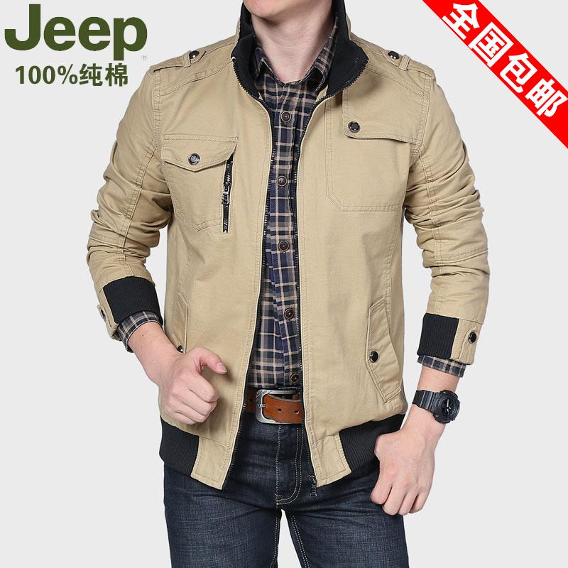 吉普春装新款加肥加大码夹克男装 jeep青年短款上衣男休闲男外套