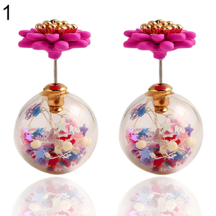 Arrival Candy Color Flower Ball Star Double Sides Ear Studs