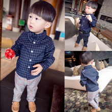The new 2015 children's clothing shirt baby boy of spring spring clothes the 1-2-3 - year - old male baby plaid shirt