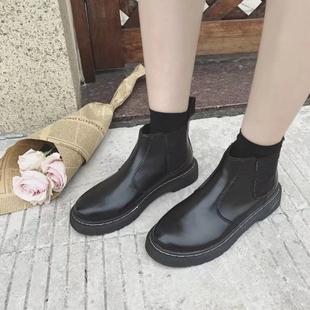 裸靴秋季2018学生切尔西短靴加绒厚底英伦风马丁靴女平底女靴
