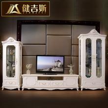 健吉斯家具 欧式单双门酒柜 法式实木电视柜组合 地柜储物包邮图片