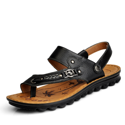 Authentic men's summer sandals leather breathable men beach shoes layer cow wallet toe sandals men casual cool slippers