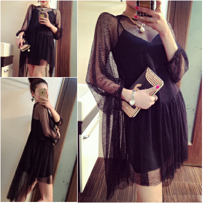 In the spring of the new European and American wind fashion sexy ornamental lonely lace irregular loose dovetail two-piece dress