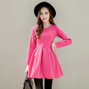 2015韩版新款秋冬装修身时尚玫红色长袖蓬蓬裙女装显瘦公主连衣裙