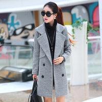 毛呢大衣女中长款2015秋冬新款修身显瘦呢子外套大码加厚韩版风衣
