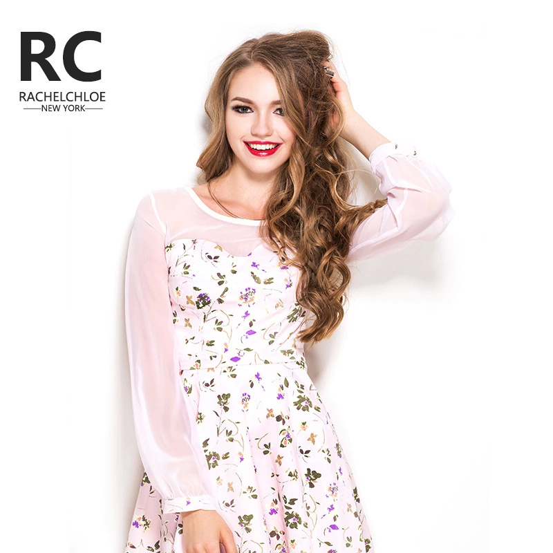 RC Swiss child fall and winter can printing stitching skirt sexy female perspective in Europe and America bottoming skirt dress