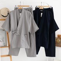 原单日本男士纯棉纱布和服夏秋日式睡衣汗蒸作务服纯棉家居服套装
