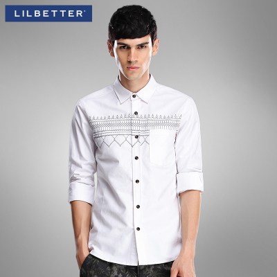 lilbetter men's long-sleeved shirt Korean version of the original national wind embroidery inch male dress shirt Slim tide
