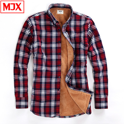 MJX2014 warm autumn and winter men shirt plus thick velvet shirt men winter men's plaid shirt men long-sleeved shirt