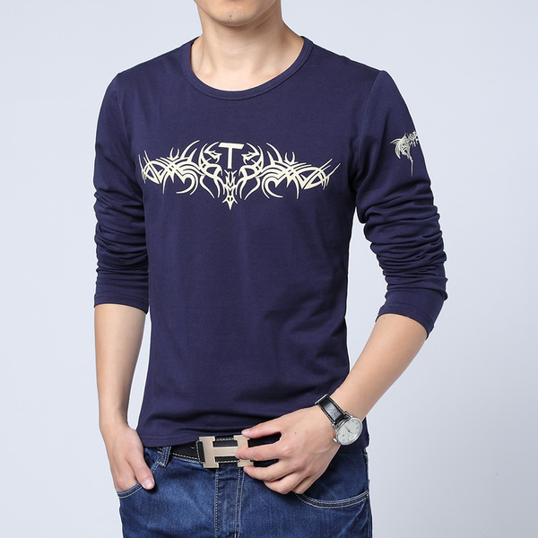 2014 Hitz genuine men knight Putin printed round neck long-sleeved T-shirt trend Men's large size men