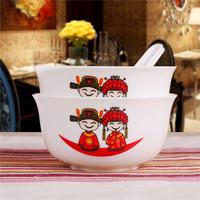 景德镇陶瓷碗 4.5英寸饭碗中式米饭碗2碗2勺骨瓷餐具套装乔迁结婚