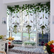 Rural embroidery embroidered white yarn butterfly restaurant balcony window curtain window screen tyra litre fall shade Roman blinds