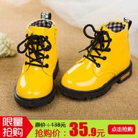 女童靴子儿童马丁靴男宝宝单靴大中小童雪地靴皮鞋2-3岁4秋冬季韩