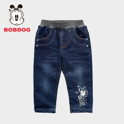 Bob dog children's fall and winter 2014 fashion new boy children plus thick velvet jeans tide B44SK830