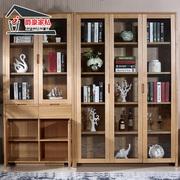 爵豪家私北欧全实木书房书架组合带门现代简易书柜储物柜实木