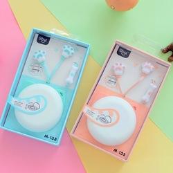 可爱卡通猫爪耳机入耳式手机通用女生创意韩国重低音线控耳麦萌萌