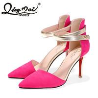2015新款OL单鞋欧美时尚金属尖头鞋高跟鞋性感镂空细跟搭扣女单鞋
