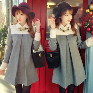 秋冬装新款大码女装韩版修身显瘦毛呢连衣裙女长袖名媛气质连衣裙
