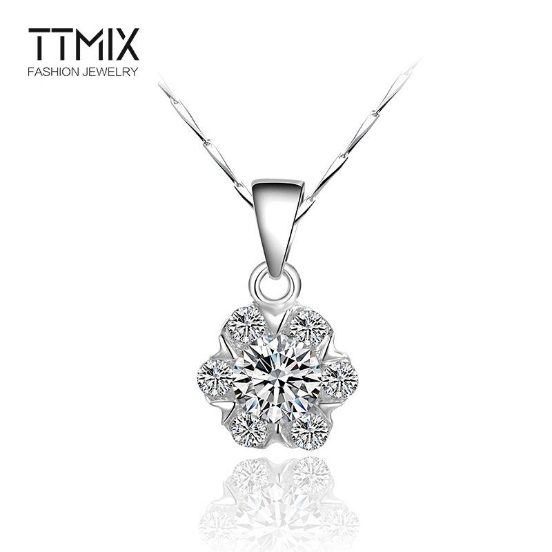 Ttmix浪漫樱花925银项链 女韩版流行饰品 短款花朵镶满钻锁骨链夏图片