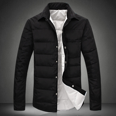 Winter jacket thin shirt male taxi fertilizer XL long sleeve down jacket warm coat Korean influx of men