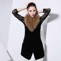 2014海宁獭兔新款绵羊皮女士修身韩版獭兔毛超大貉子毛领时尚马甲