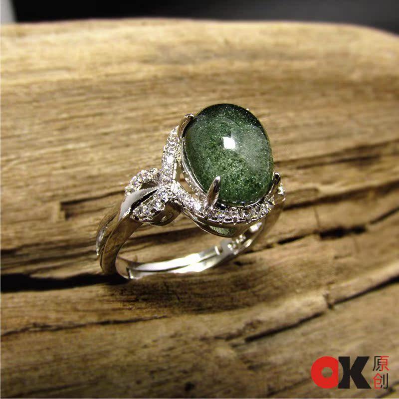 绿碧玺戒指价格_巴西天然绿幽灵戒指环可调节 红幽灵彩花幽灵 男女款 一图一物