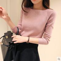2015秋冬装韩版女装一字领毛衣紧身秋款打底针织衫短款套头上衣女