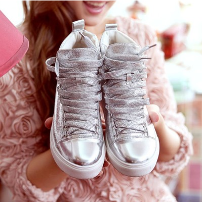 201412 - year - old female han edition, 14, 16 years old shoes flat sandals college girls silver sports recreational shoe boots