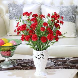 仿真花康乃馨假花塑料花装饰花 客厅绢花摆设家居饰品花卉 单支