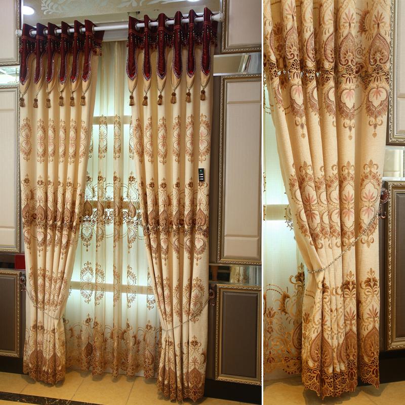 雪尼尔水溶绣花中式欧式定制窗帘豪华客厅卧室书房