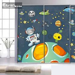 卡通星空宇宙宇航员太空墙纸儿童房卧室壁纸幼儿园无纺布大型壁画图片