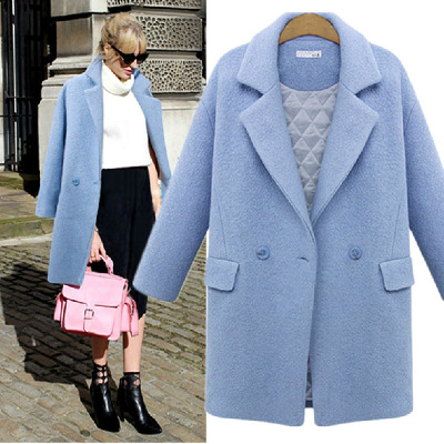 European and American style double-breasted thick winter clothes thick woolen coat was thin loose big yards long section of female plus cotton coat