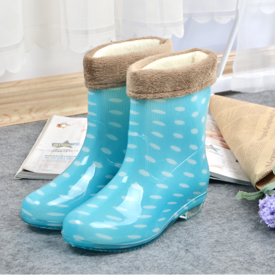 Korean fashion warm waterproof shoes boots-in-tube slip rubber boots and thick rubber shoes water shoes women shoes Korea