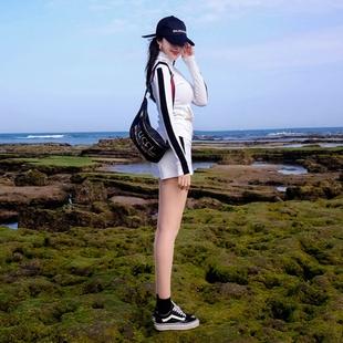 2018夏季时尚显瘦运动套装出游装短裤两件套纯棉女潮