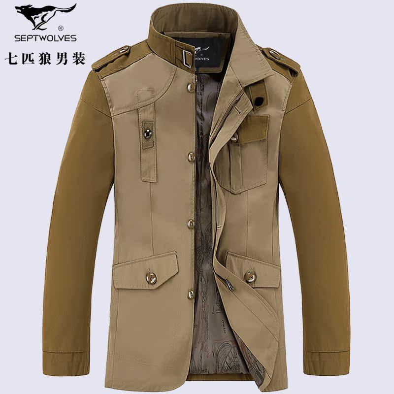 2014新款秋装七匹狼男士夹克外套男青年中长款男韩版修身薄款风衣
