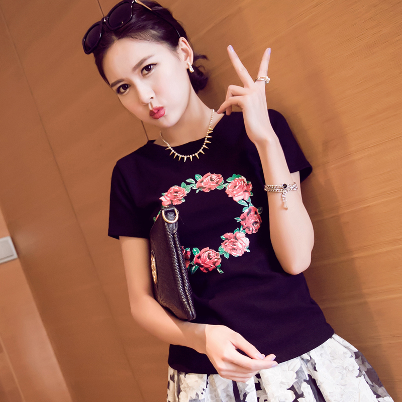 cultivate one's morality fashion temperament of the sweet floral print round collar short sleeve cotton T-shirt  Taobao Agent