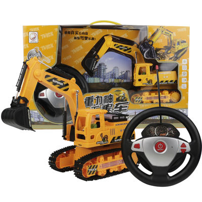 Wireless remote control steering wheel excavator construction vehicles large gravity induction charging electric remote control car children