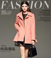 2015秋冬装韩版修身双排扣羊毛呢外套中长款加厚高端羊绒呢子大衣