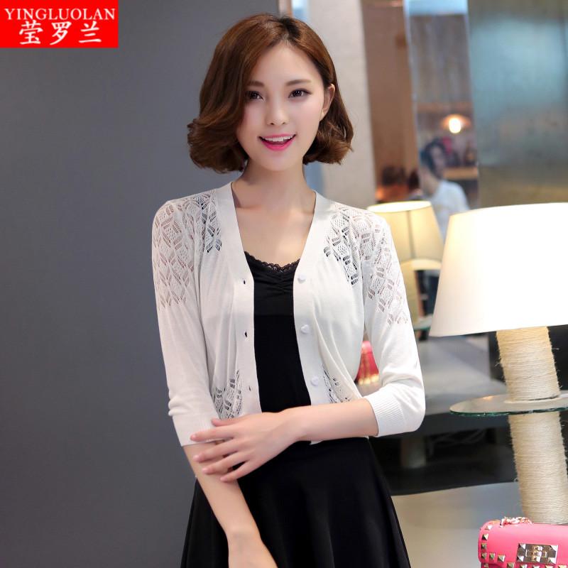 2015韩国秋季女装七分袖开衫女性镂空超短款坎肩外搭薄针织小外套