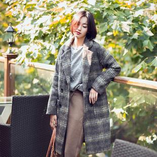2015女装冬独家定制大牌复古格子羊毛呢大衣长款毛呢外套【实拍】