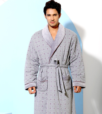 American Standard counter new winter men's long-sleeved thick cotton quilted cotton nightgown bathrobe tracksuit 31109