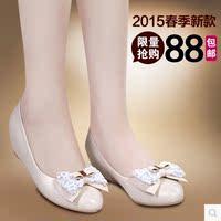 特卖2015春季新款女鞋单鞋中跟浅口鞋蝴蝶结内增高尖头平底女单鞋