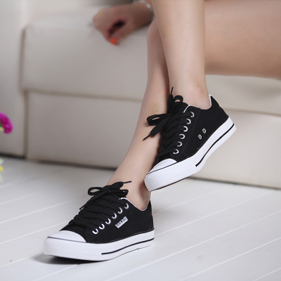 2014 autumn models large influx of women 40-43 yards canvas shoes black high school students Korean couple shoes to help low flat shoes