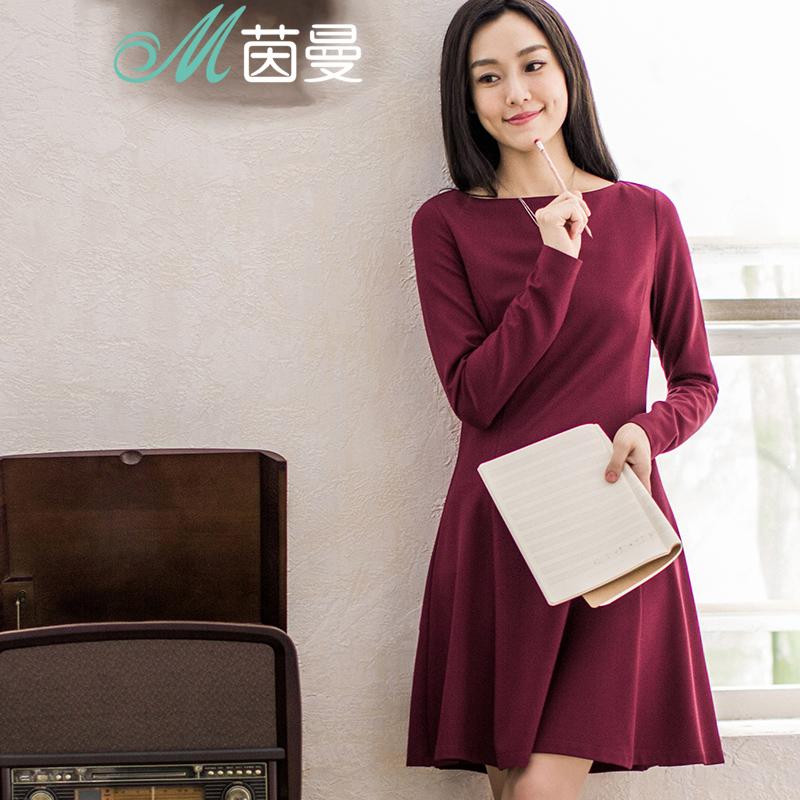 茵曼 女装春秋新款纯色长袖一字领连衣裙修身短裙女裙8531010451