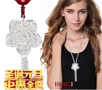 925 sterling silver pendants Rose Flower palace flower pendant retro sweater chain silver pendant to send his girlfriend
