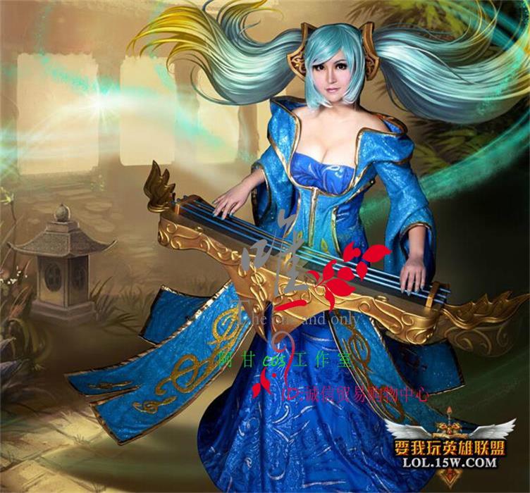 英雄联盟 lol 琴瑟仙女 娑娜 琴妈cosplay服装cos女装图片