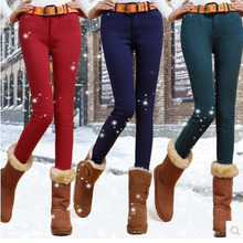 Qiu dong with velvet thickening jeans panty dong han edition of thin elastic candy color little pencil pants